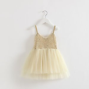 EMS DHL Free shipping little girls Kids Golden Party Princess Tulle Beaded Sequin Dress Summer Dress Casual Clothes Holiday wear