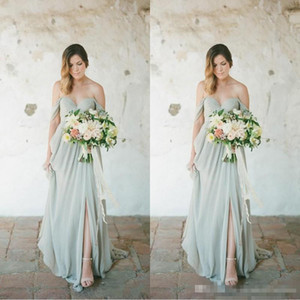 Wholesale Sage Boho Bridesmaid Dresses Eleagnt Long For Wedding Guest Dress Chiffon Off Shoulder Side Split Plus Size Party Maid of Honor Gowns