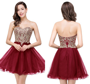 Wholesale evening dresses applique mini resale online - New Cheap Colors Mini Short Homecoming Dresses Little Black Lace Appliques Tulle Cocktail Burgundy Prom Party Gowns CPS411
