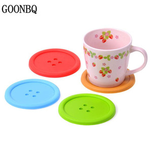 Wholesale table placemat sets for sale - Group buy GOONBQ set cm Buttons Shape Table Mat Silicone Round Coasters Cute Button Cup Mat Candy Color Soft Silicone Placemat