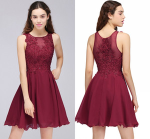 Wholesale Wine Red Lace Beaded A Line Homecoming Dresses Short Chiffon Cocktail Party Dresses For Young Girls Jewel Neck Cheap Homecoming Gowns CPS707