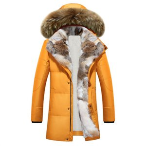 Wholesale 2017 winter duck down jacket men coat parkas Wool Liner male Warm Clothes Rabbit fur collar High Quality PLUS SIZE M to XL