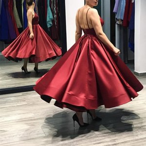 Wholesale New Burgundy Tea Length Party Dresses 2018 Spaghetti Ball Gown Satin Short Evening Party Dress Special Occasions Gowns Cheap Custom Made