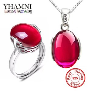 Wholesale YHAMNI Fashion Big Natural Ruby Ring Necklace Sets Pure Solid Silver Red Gem Bridal Jewelry Sets for Women AS001
