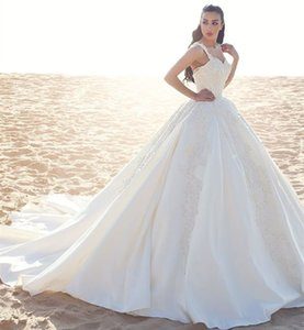 Gorgeous Vintage Arabic Lace Wedding Dresses 2017 Spaghetti Appliques Long Train Saudi Satin Arabia Ivory Bridal Gowns Plus Size Custom Made on Sale