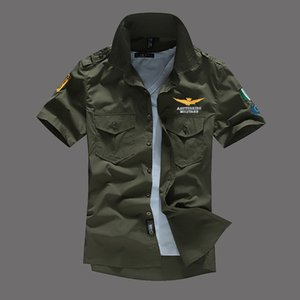 Mens Pilot Shirts Short Sleeved Casual Shirts Turn-Down Collar MA1 Plane Tops Fashion Tees Clothing on Sale