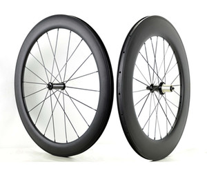 Free shipping Full carbon fiber Front 60mm rear 88mm depth clincher wheelset 700C 25mm width road bicycle carbon wheels