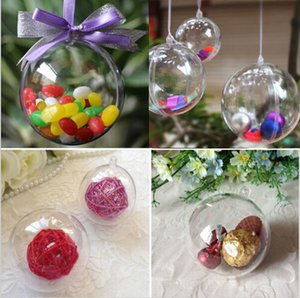 Wholesale 20Pcs Acrylic Transparent Ball Clear Plastic Ball for Wedding Candy Box Favors Gift Bag New Year Christmas Tree Decorations