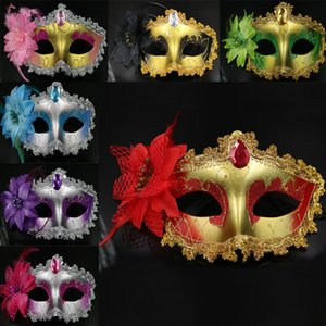Wholesale 2017 Masquerade Masks Venetian Face Mask Fashion Lily Flower Crystal Rhinestones Party Decoration Halloween Christmas Gift Style WX9