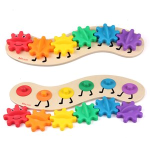 Wholesale Big Gear Caterpillar cm Wooden Toys Educational Montessori Material Intelligence Baby Kids Puzzle Toy Good Quality