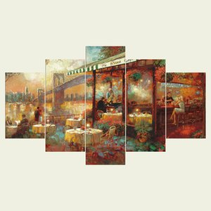 (No frame)The coffee shop series HD Canvas print 5 Panel Wall Art Oil Painting Textured Abstract Pictures Decor Living Room Decoration
