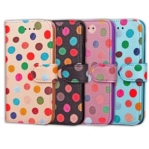 Colorful Polka Dot Design PU Leather Wallet Stand Case Cover for new iphone 7 iphone7 plus free shipping