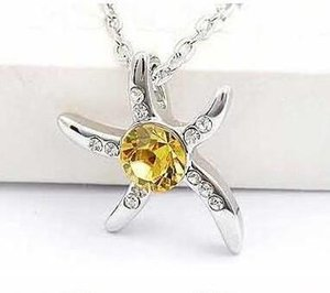 Wholesale 925 Silver Plated Sea Star Necklace Fashion Exquisite Crystal Jewelry Star Fish Pendant Necklace Crystal Statement Jewelry Christmas Gift