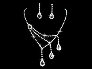 Wholesale black prom jewelry set for sale - Group buy Blue Twinkle Crystal Wedding Bridal Jewelry Sets Earrings Pueple for Prom Party Rhinestone Black Necklace Earrings joyas de plata