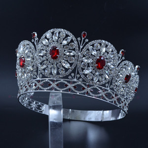 Miss Beauty Crowns For Pageant Contest Private Custom Temporary Shelves Round Circles Bridal Wedding Tiaras Red Stone Mixing Mo228
