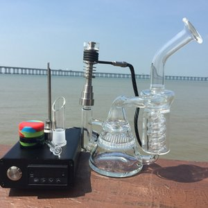 E Digital Nail Kit with Glass Bong 6 in 1 Quartz Hybird Titanium Nail fit D Digital Nail Honeycomb Recycler Bong DHL Free
