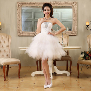 Wholesale Homecoming Dress Teens Formal Evening Beaded Party Bridesmaid Short Prom Dress High Quality Strapless Elegant White Ivory Bridesmaid Dresses