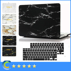 New Hard Rubberized Protective Marble Case with Black Keyboard Cover for Macbook Air Pro Retina 11'' 12'' 13'' 15inch