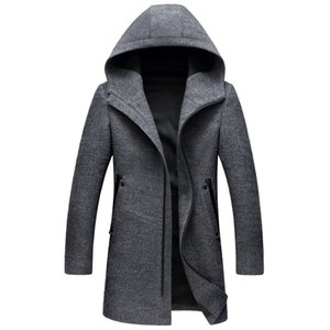 Shanghai Story Autumn New Long Hooded Mens Coats Overcoats High Quality Black Grey Colors Mens Wool Jacket