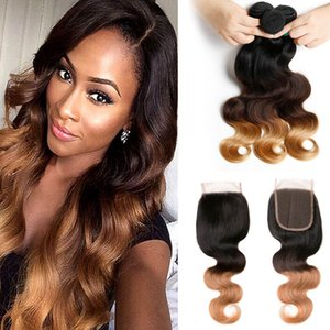 Best Ombre Human Hair Weave Bundles with Closure 3 Tone Blonde 1B 4 27 Ombre Brazilian Body Wave Human Hair Extensions with 4x4''Closure