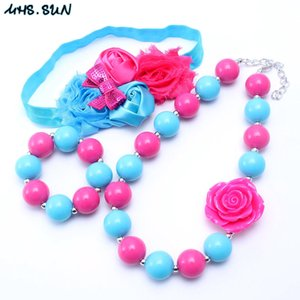 Wholesale Blue Hot Pink Color Necklace Bracelet Headband Jewelry Set Flower Toddlers Girls Bubblegum Baby Kids Chunky Necklace Jewelry Set