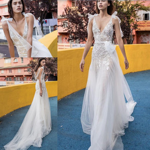 Wholesale Lace Tulle Beach Garden Wedding Dresses with Sash Modest Liz Martinez Flowing Flare Skirt V neck Butterfly Bohemian Wedding Gowns