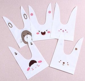 Wholesale 50pcs pack cute rabbit ear cookie bags Self adhesive Plastic Bags for Biscuits Snack Baking Package food bag