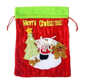Wholesale Christmas gift bag old man bag Christmas gift flannelette stereoscopic christmas bag candy decoration Party Favor small gift DHL free