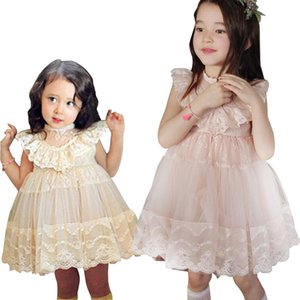 Wholesale PrettyBaby summer colors girls dress pink Champagne sleeveless embroidered mesh lace girls wedding dresses DHL