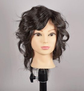 "wholesale tete pour perruque,18""human ealistic female real hair mannequin makeup practice hairdressing head,color6 mannequins wig M00612"