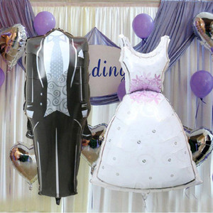 50pcs lot Wedding Dress Balloon The Bride Groom Wedding Gown Foil Balloons Wedding Decoration Party Air Balloon Favors Supplies