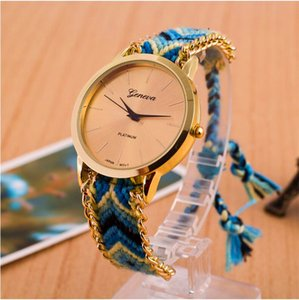 Wholesale Luxury Geneva Ladies Women Weave Watch Handmade Braided Friendship Bracelet Color Quarzt Rope Hand Woven Wristwatch Gift Watch