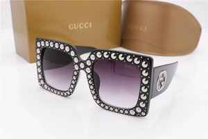 Wholesale Designer STONE S Crystal Square Oversized Sunglasses Black Grey Gradient Fashion brand Sunglasses eyewear New with case