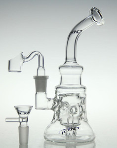 Wholesale glass diamond bowl for sale - Group buy New scientific glass bong glass recycler new glass bong oil rig diamond glass pipe with quartz nail and bowl