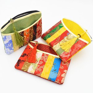 Wholesale Patchwork Zipper Small Clutch Purse Party Favor Bags Gift Chinese Silk Brocade Tassel Women Makeup Cosmetic Storage Bag Vintage Coin Wallet