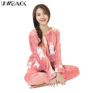Wholesale- Uwback 2017 Winter Brand Flannel Pajamas Sets Women Cute Sleepwear Female Coral Fleece Nightwear Mujer Animal Character OB270