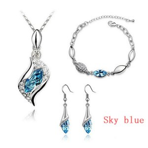 100% Austria Crystal Jewelry Set Fashion Angels wizard Silver Plated Necklace Earrings and Bracelet Swarovski Crystal Elements Jewelry Set on Sale