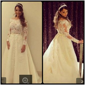 New white Lace Appliques A Line Wedding Dresses 2017 Long Sleeve Sheer Back Bride Gown Sexy Formal Wedding Gowns
