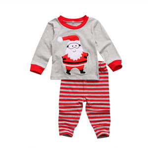 Wholesale Kid Christmas baby boy girl clothing set santa tops striped pants piece red gray cute pajamas cotton kids clothes outfits XMAS presents