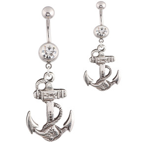 Wholesale Body Jewelry Anchor Dangle Button Barbell Belly Navel Ring Bar Piercing chain New Design for Girl Woman jewelry