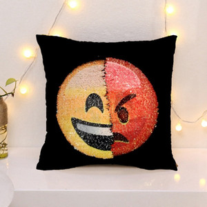Wholesale DHL Sequins Emoji Pillow Case Mermaid Cushion Gradient color Change Face Double Color Pillow Cover Soft Car Sofa Ornament Bright Covers