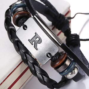 Wholesale New Arrival Alphabet A F H N R S Z Design Leather Bracelet Genuine Handmade Alloy Charms Bracelets Wristbands