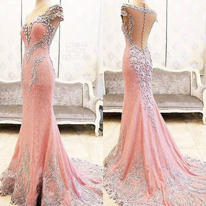 2018 Newest Sexy Real Image Mermaid Elegant Pink Lace Evening Dresses Sexy Crystal Crew Cheap Party Prom Dresses