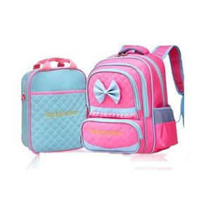 2017 High quality Children Girls Candy Color Bow 2pcs Korean School Bags Rose Blue Kids Bac kpack B22