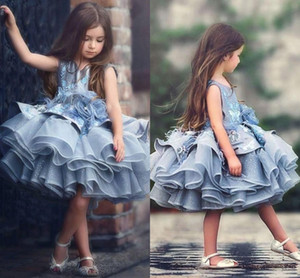 Wholesale 2017 Short Girls Pageant Dresses Tutu Princess Blue Lace Appliques Feather Tiered Ruffles Kids Flower Girls Dress Birthday Communion Gowns