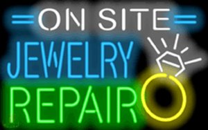 "On Site Jewelry Repair Neon Sign Necklaces Rings Bracelets Custom Real Glass Neon Company Shop Store PUB Display Advertising Sign 32""X20"""