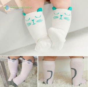 Wholesale Toddler knee high sock cotton Baby Boy Girl Socks anti slip Cute Cartoon Cat Skid Resistance leg warmers For newborns infantile HJIA790