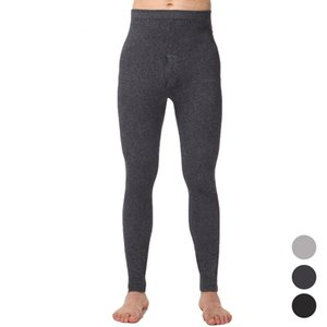 Wholesale winter boutique Men s Solid Knitted Wool Warm Underwear Pants Long Johns Pants men Warm Pants Grey Black Dark Grey