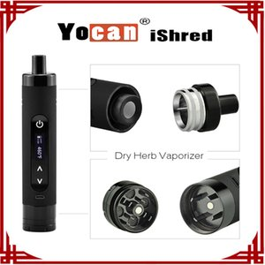 Wholesale sp pc Authentic Yocan iShred Dry Herb Vaporizer E Cigarette Kits mAh LCD Sreen Built in Herb Grinder vs Yocan Evolve Plus