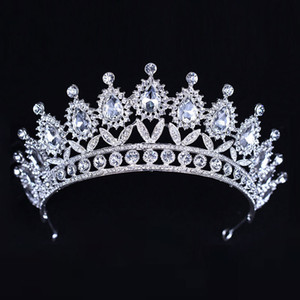 Wholesale Luxury Silver Crystals Wedding Crowns Beaded Bridal Tiaras Rhinestone Head Pieces Headband Cheap Hair Accessories Pageant Crown